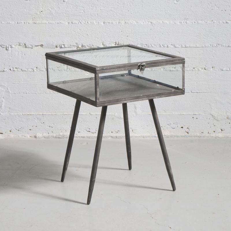 Τραπέζι Βιτρίνα Μεταλλική Μαύρη 36x36x48 εκ.