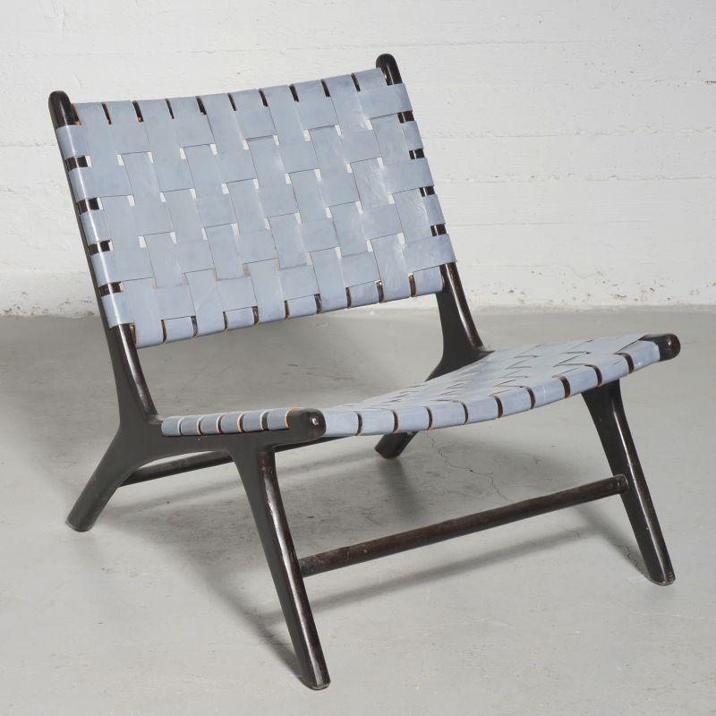 Καρέκλα Lounge Δερμάτινη Πλεκτή Teak Γκρι 81x65x72 εκ.
