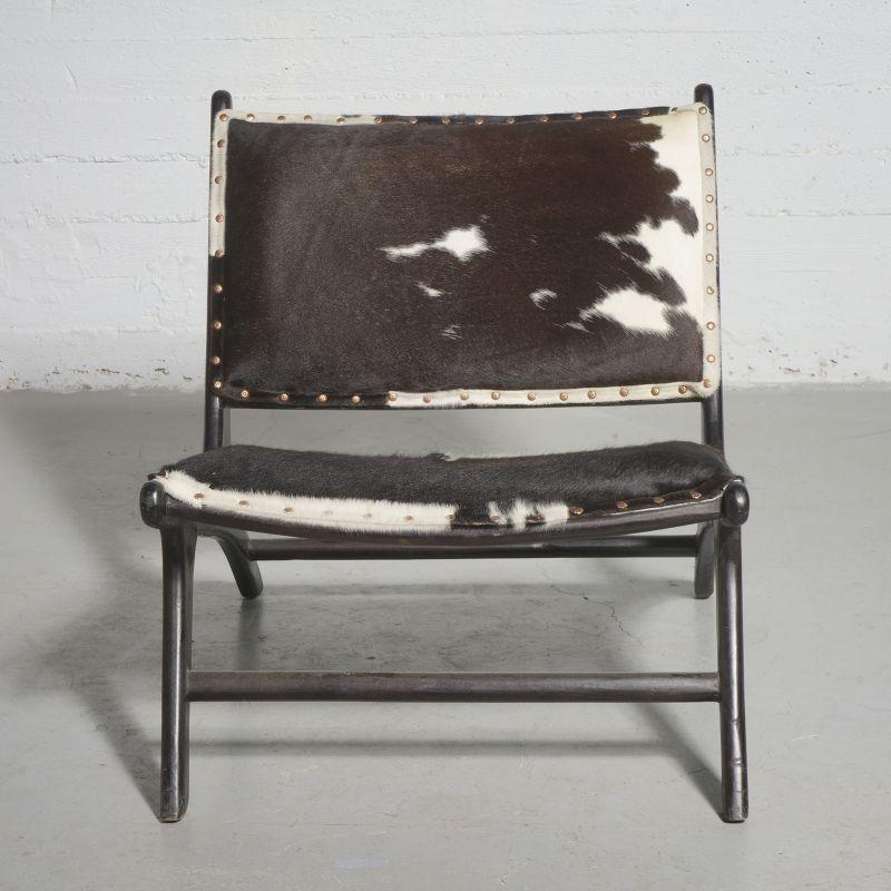 Καρέκλα Lounge Δερμάτινη Teak Αγελάδα 81x65x72 εκ.