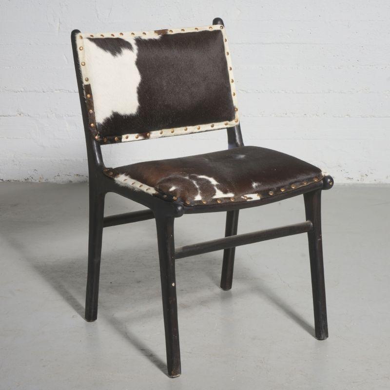 Καρέκλα Τραπεζαρίας Δερμάτινη Teak Αγελάδα 66x55x97 εκ.