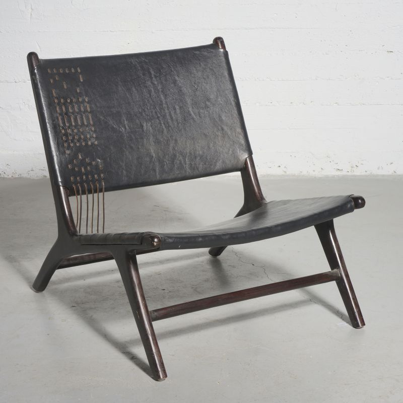 Καρέκλα Lounge Δερμάτινη Teak Μαύρη 81x65x72 εκ.