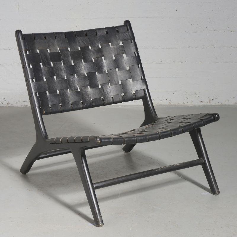 Καρέκλα Lounge Δερμάτινη Πλεκτή Teak Μαύρη 81x65x72 εκ.