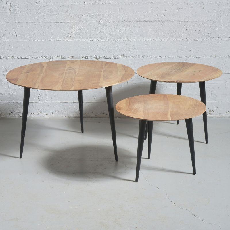 Τραπέζι Ξύλινο Καφέ Σετ/3 70x70x45 εκ.