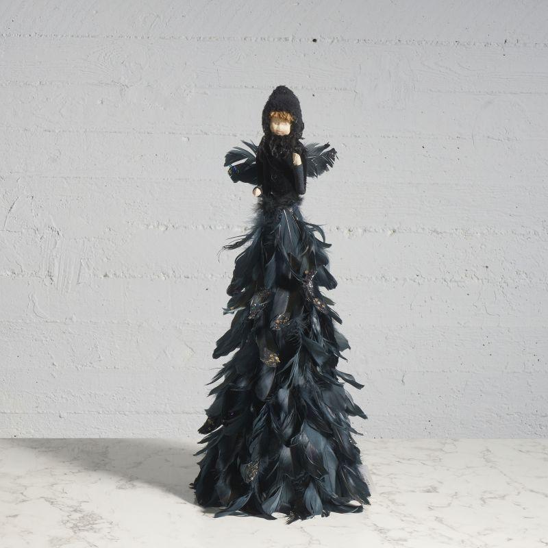 Διακοσμητικός Άγγελος με Φτερά Μαύρος 68 εκ.