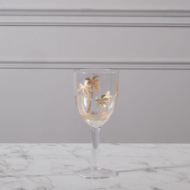 Ποτήρι Κρασιού Πλαστικό Φοίνικες Χρυσό 9x9x20,5 εκ.