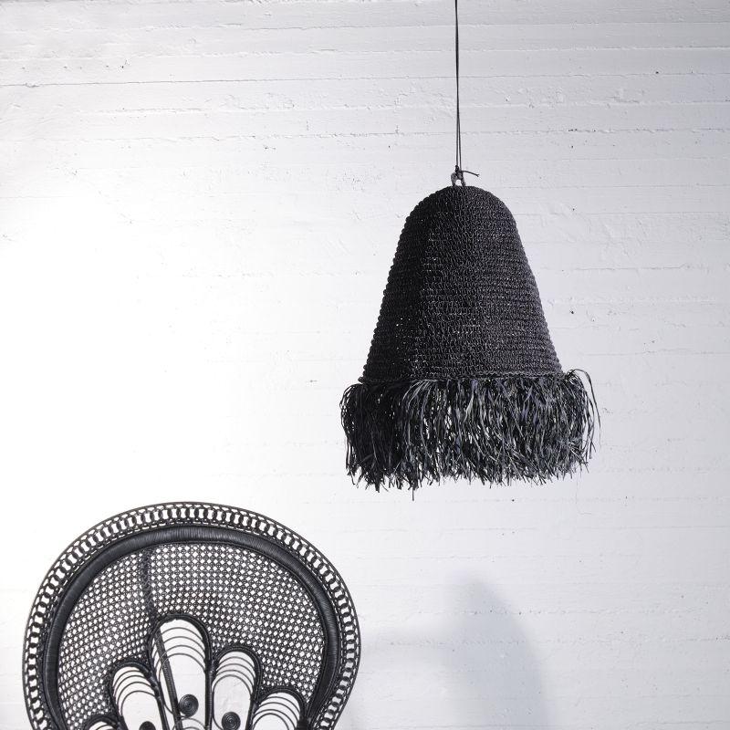 Φωτιστικό Οροφής Ρατάν Μαύρο 45x45x60 εκ.