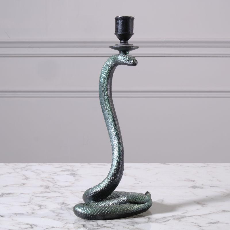 Κηροπήγιο Φίδι Πολυρεζίνη Μαύρο 33 εκ.