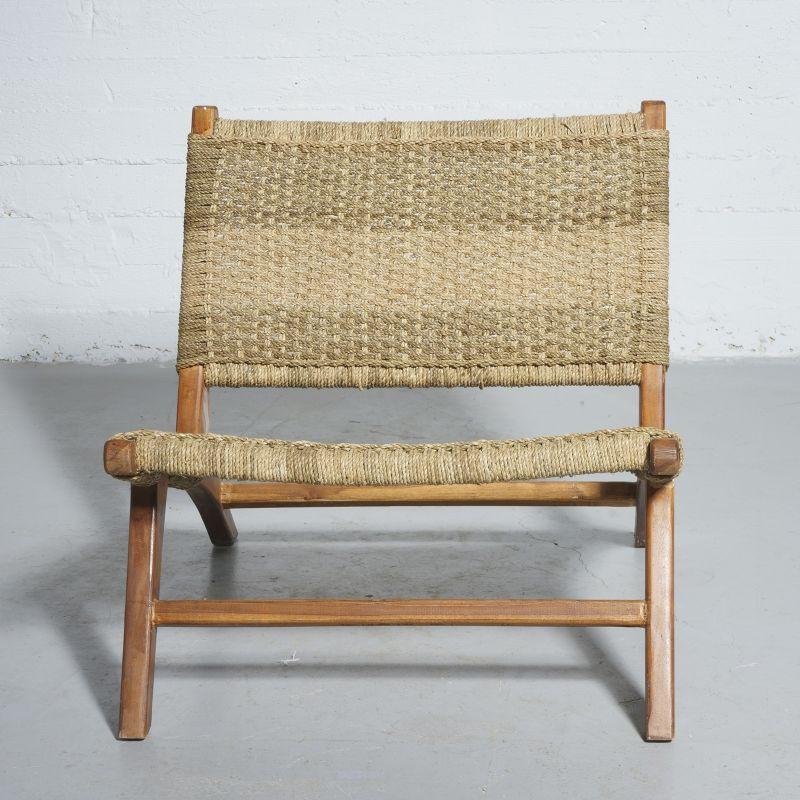 Καρέκλα Teak Πλεκτή Φυσική 87x70x70 εκ.