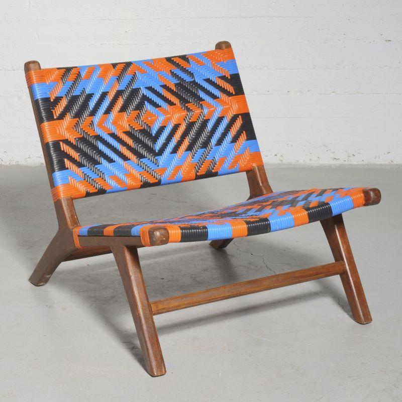 Καρέκλα Teak Συνθετικό Ρατάν Πολύχρωμη 87x70x70 εκ.