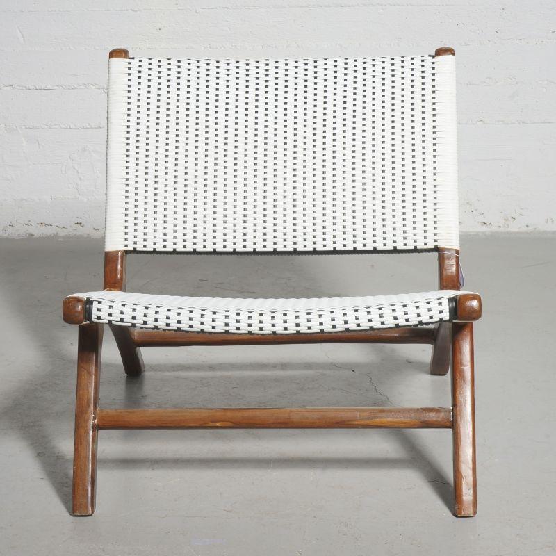 Καρέκλα Teak Συνθετικό Ρατάν Ασπρόμαυρη 87x70x70 εκ.
