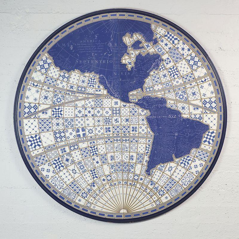 Πίνακας Χάρτης Στρογγυλός Μπλε Ø125 εκ.