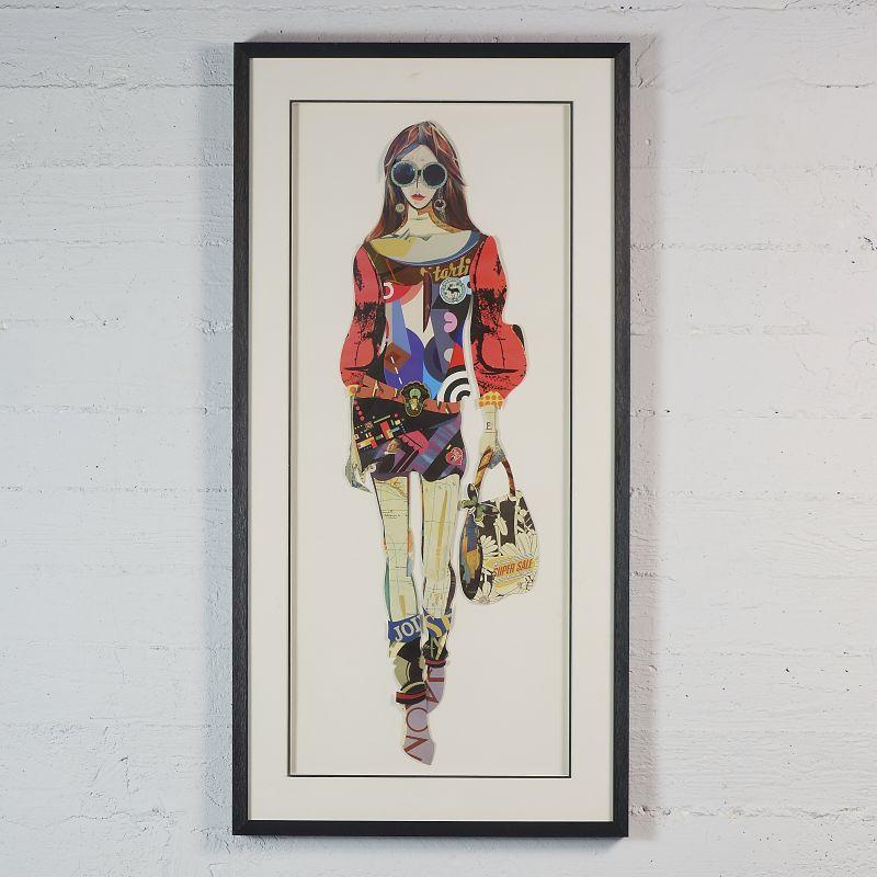 Πίνακας Κολάζ Γυναίκα με Τσάντα 50x100 εκ.