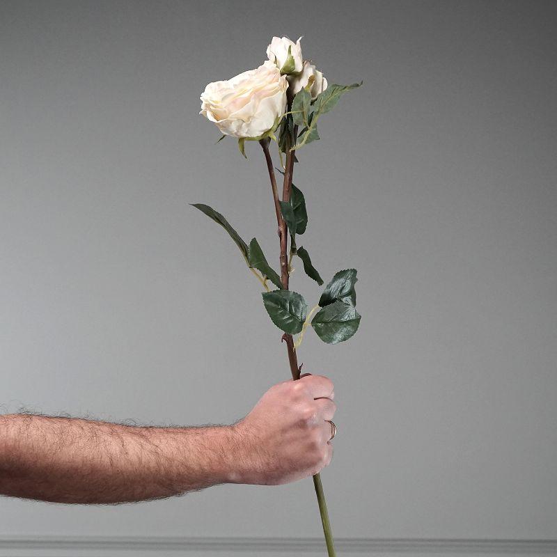 Τεχνητό Κλωνάρι Τριαντάφυλλο Κρεμ 61 εκ.
